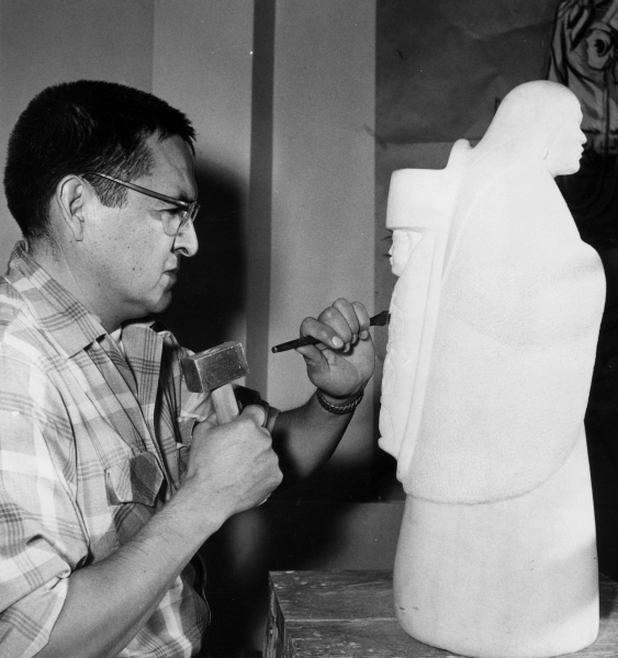 Allan Houser working on a sculpture at Intermountain, c. 1952. Photo by Bernice Gibbs Anderson.