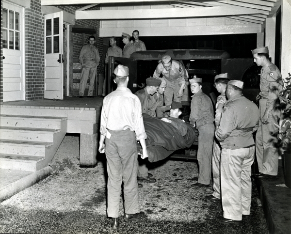 Arrival at Bushnell Hospital,  1944.