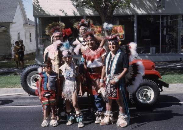 Students and staff from IIS participating in a Peach Days Parade, c. 1980. Brigham City residents looked forward to their involvement in the annual festival. Photo by Arlie Pittman.