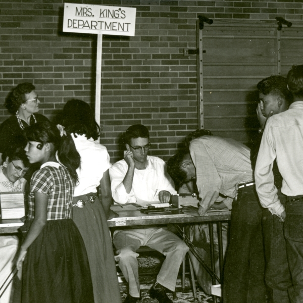 Registration in gym. September 1957. Photo my M.H. Trujillo.