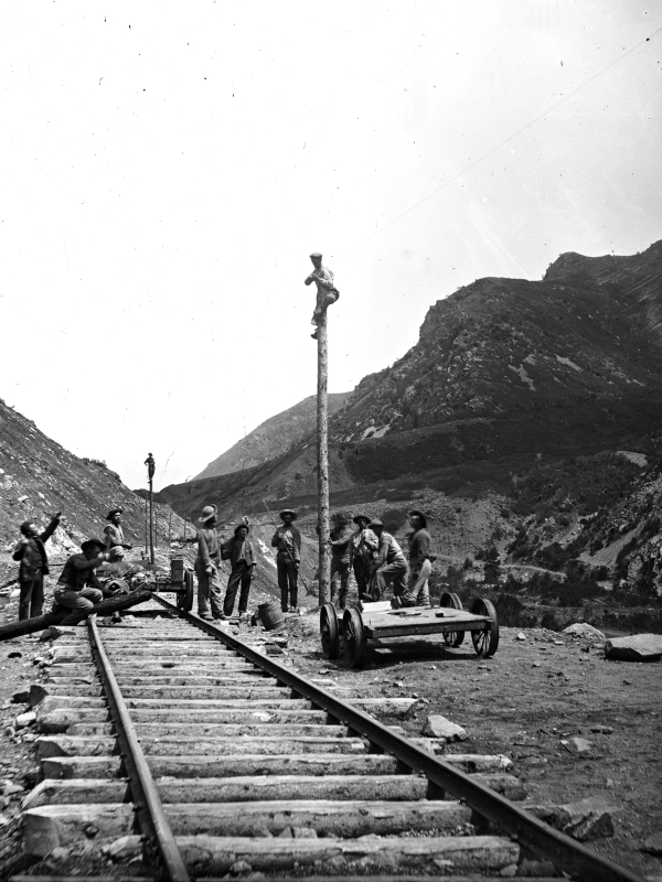 Telegraph Corps at work (Weber Canyon)
