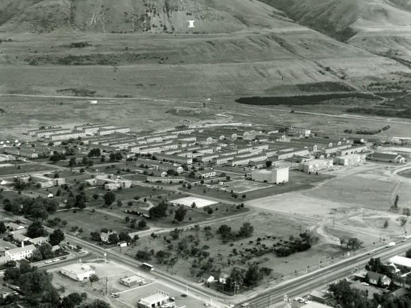 Aerial view of Intermountain Indian School showing the 'I' on the mountains, c.1967.