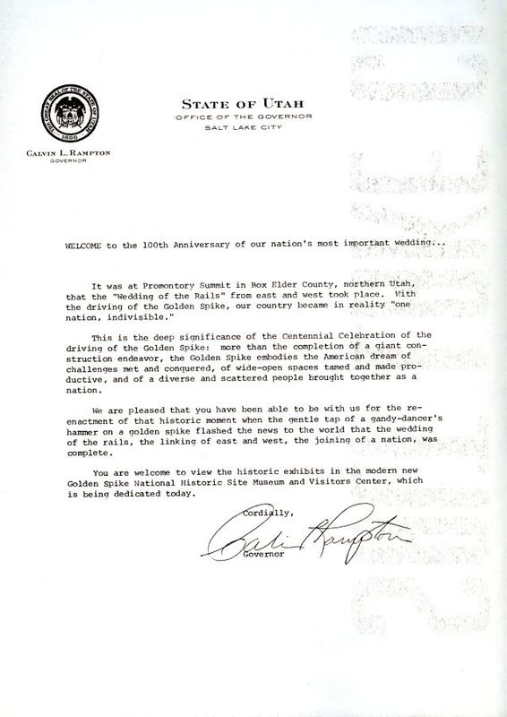 Letter from Governor Calvin L. Rampton