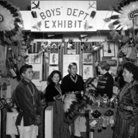 Boys Department Exhibit showing a variety of arts and crafts, c. 1952. Photo by Bernice Gibbs Anderson.
