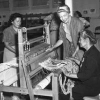 Two women working a loom, c. 1952. Photo by Bernice Gibbs Anderson.