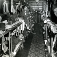 Hospital Train in France, c. 1945. Injured troops would have been transferred to Bushnell on trains similar to this.