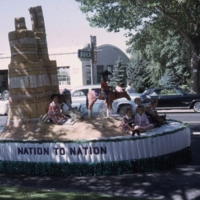 Intermountain School float during the Peach Days parade.